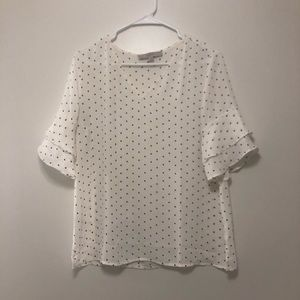 LOFT Polka Dot Bell Sleeve Blouse